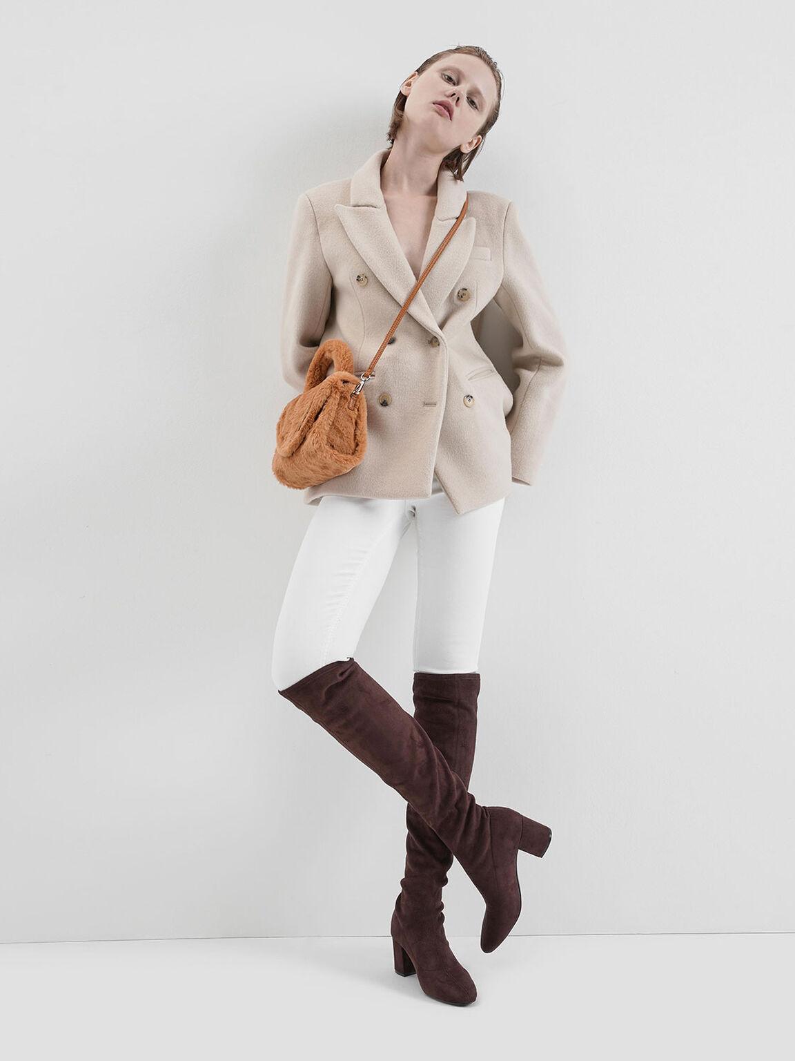 Textured Structured Bag, Tan, hi-res
