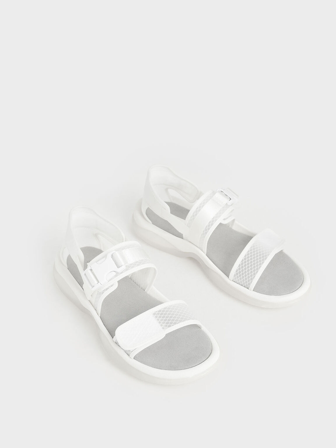 Mesh Chunky Sandals, White, hi-res