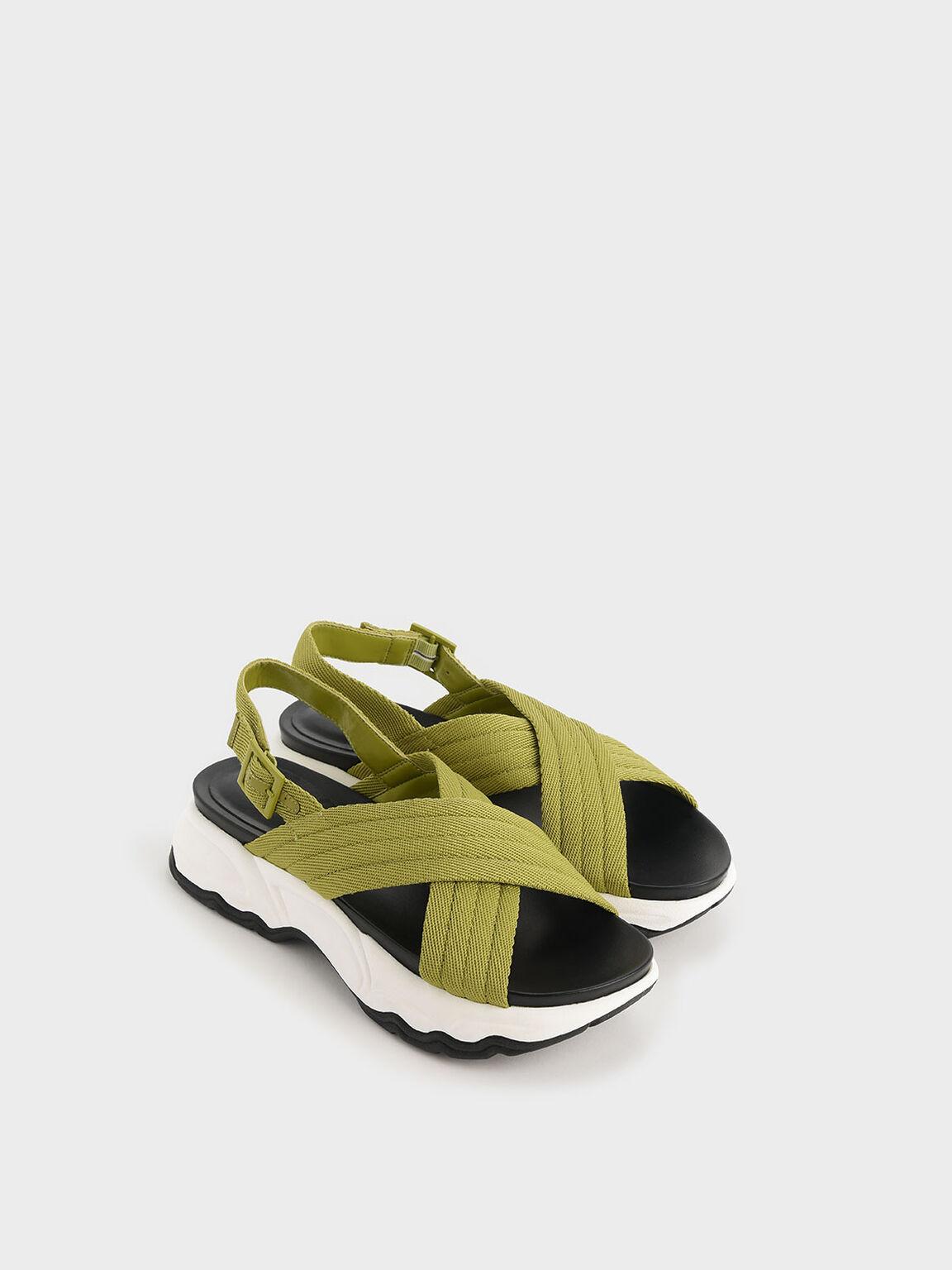 Nylon Criss Cross Chunky Platform Sandals, Green, hi-res