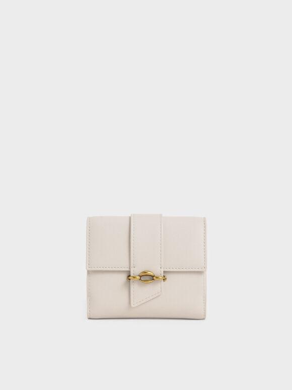 Belt Buckle Strap Short Wallet, Ivory, hi-res