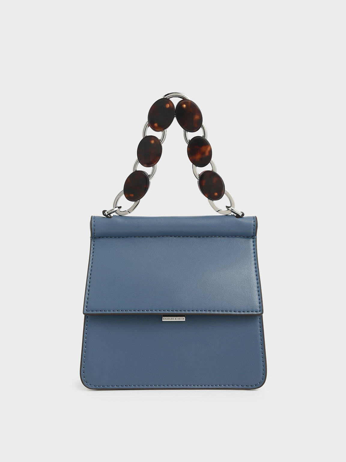 Small Acrylic Tortoiseshell Top Handle Bag, Blue, hi-res