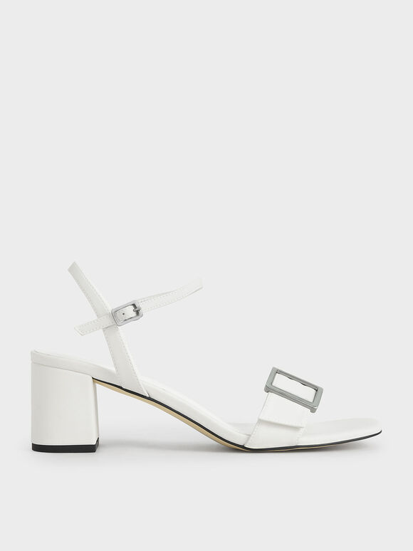 Buckle Strap Sandals, White, hi-res