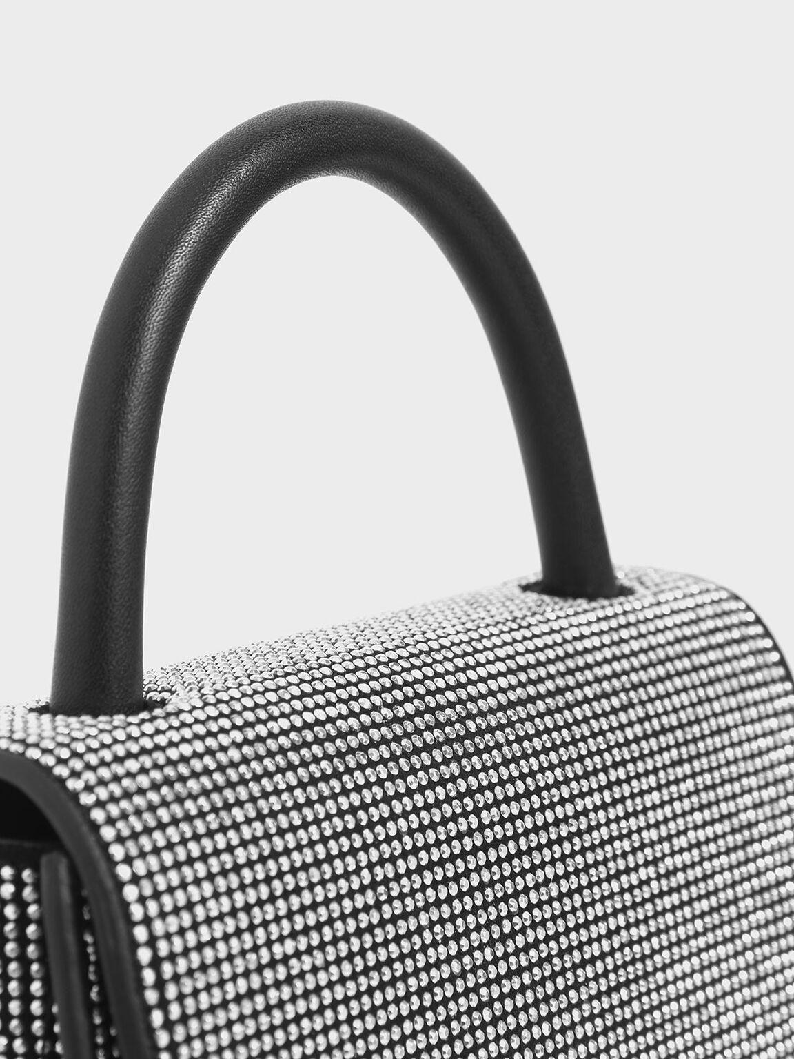 Microsuede Embellished Mini Top Handle Bag, Black, hi-res