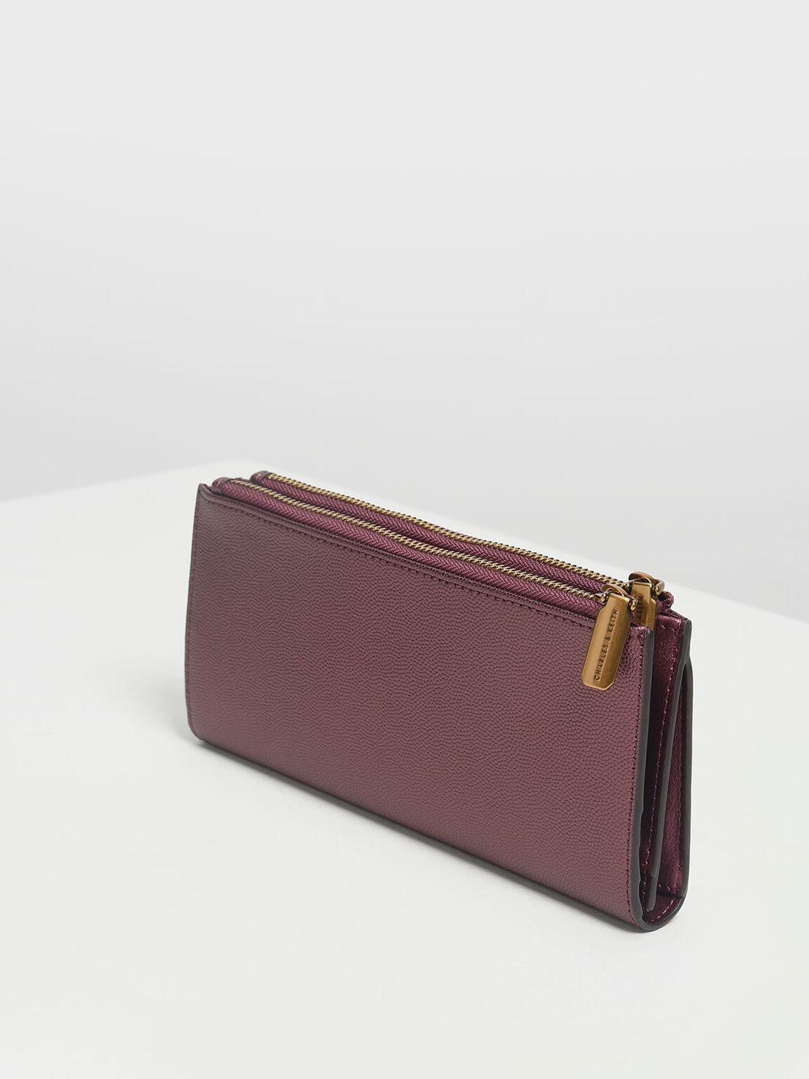 Classic Zipped Wallet, Prune, hi-res