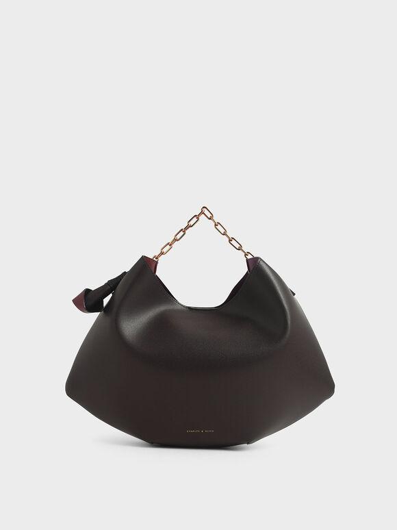 Large Chain Handle Hobo Bag, Dark Brown, hi-res