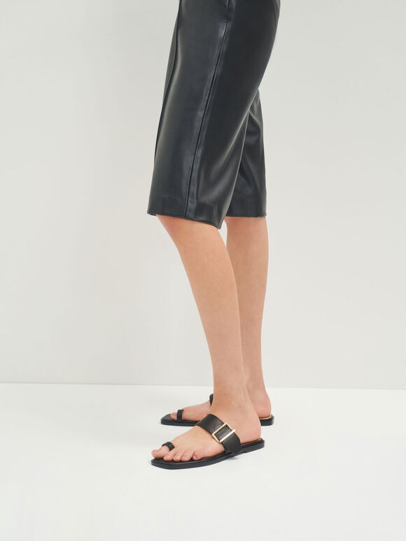 Leather Metallic Buckle Flats, Black, hi-res