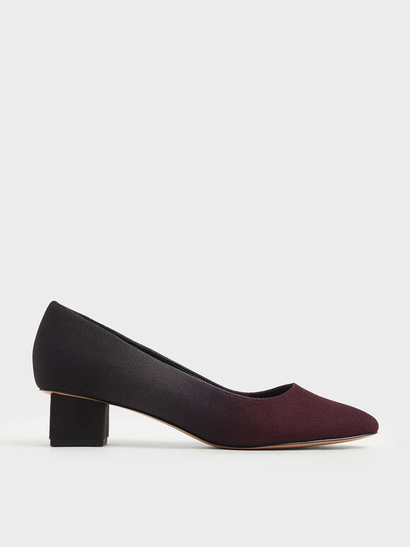 Felt Block Heel Pumps, Burgundy, hi-res