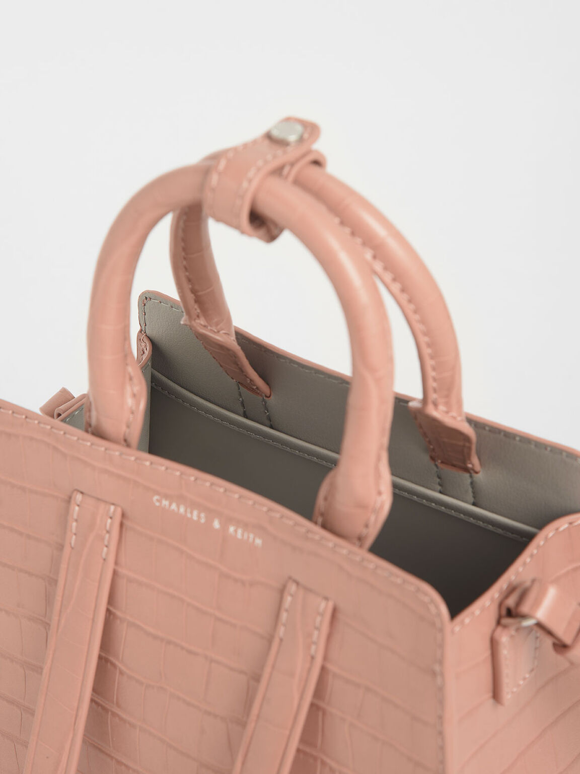 鱷魚紋中型手提包, 嫩粉色, hi-res