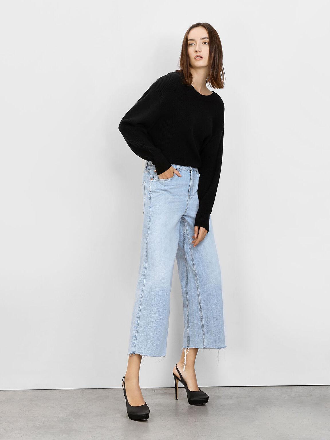 Slingback Platform Heels, Black, hi-res