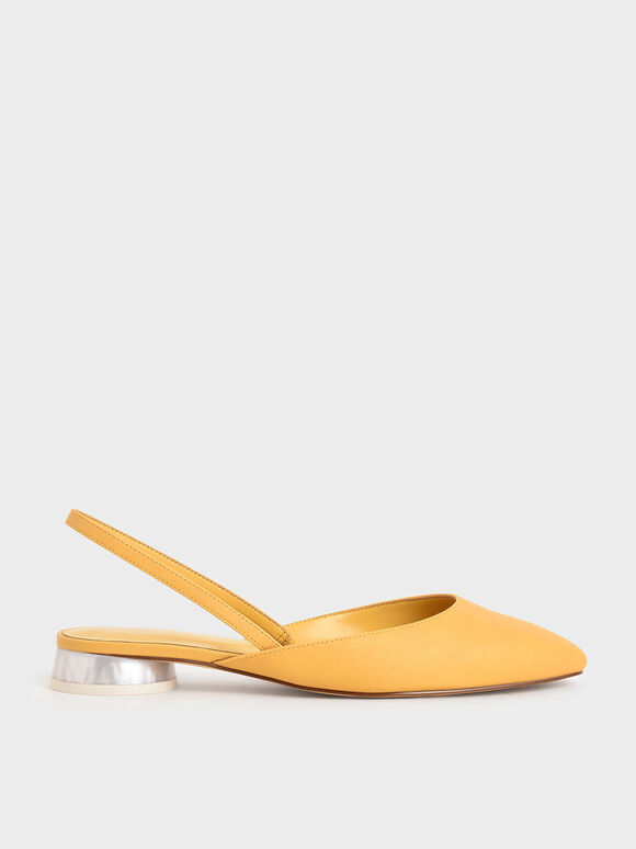 Cylindrical Heel Slingback Pumps, Yellow, hi-res