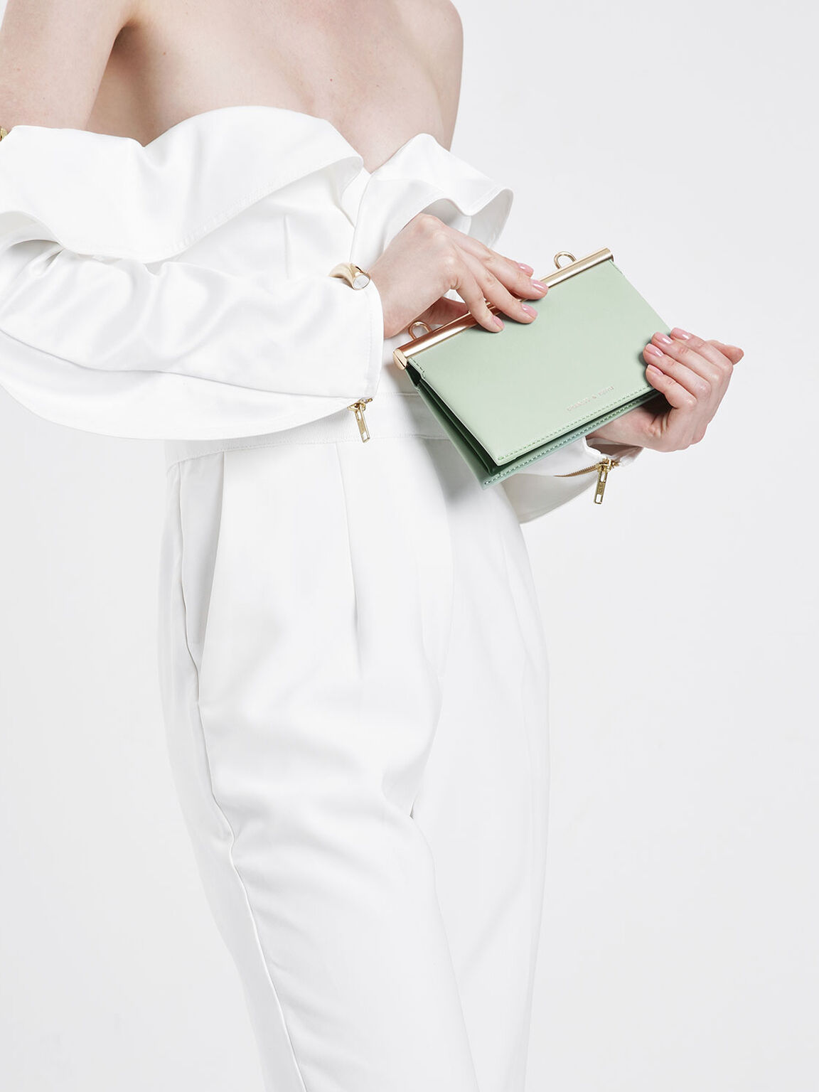 Boxy Chunky Chain Clutch, Mint Green, hi-res