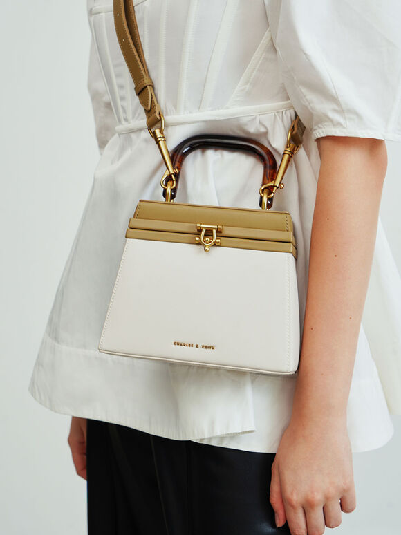 Two-Tone Tortoiseshell Top Handle Bag, Multi, hi-res