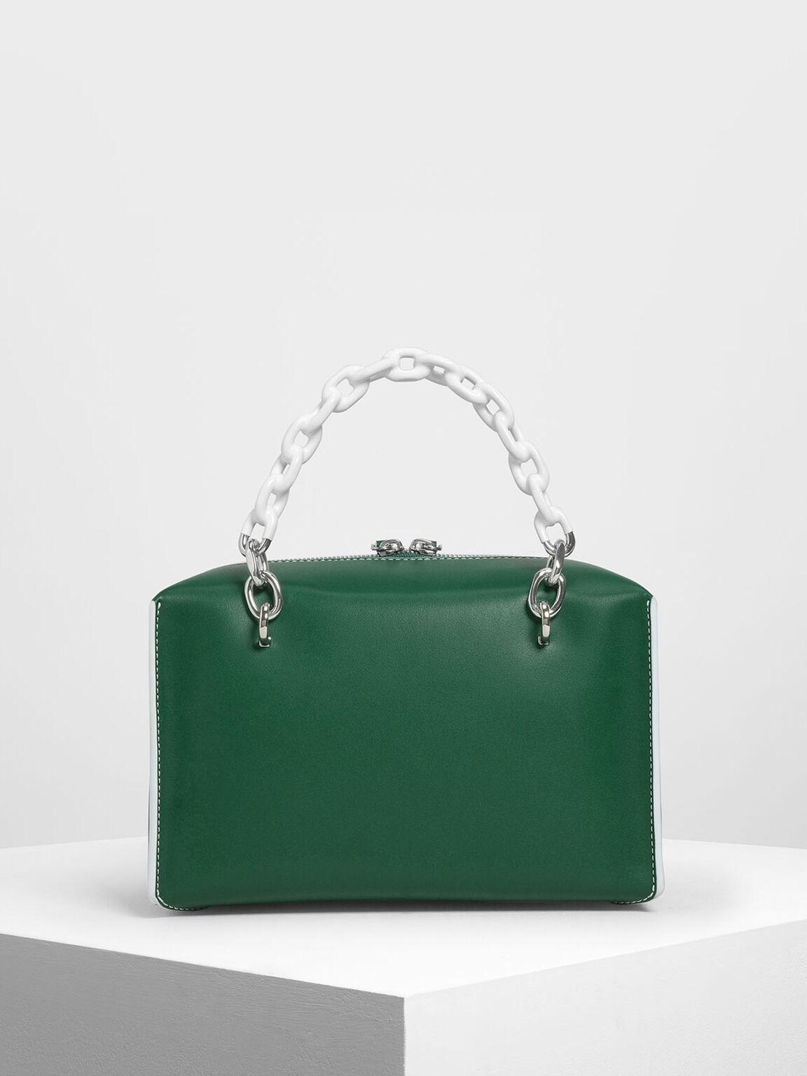 雙鍊條手提包, 綠色, hi-res