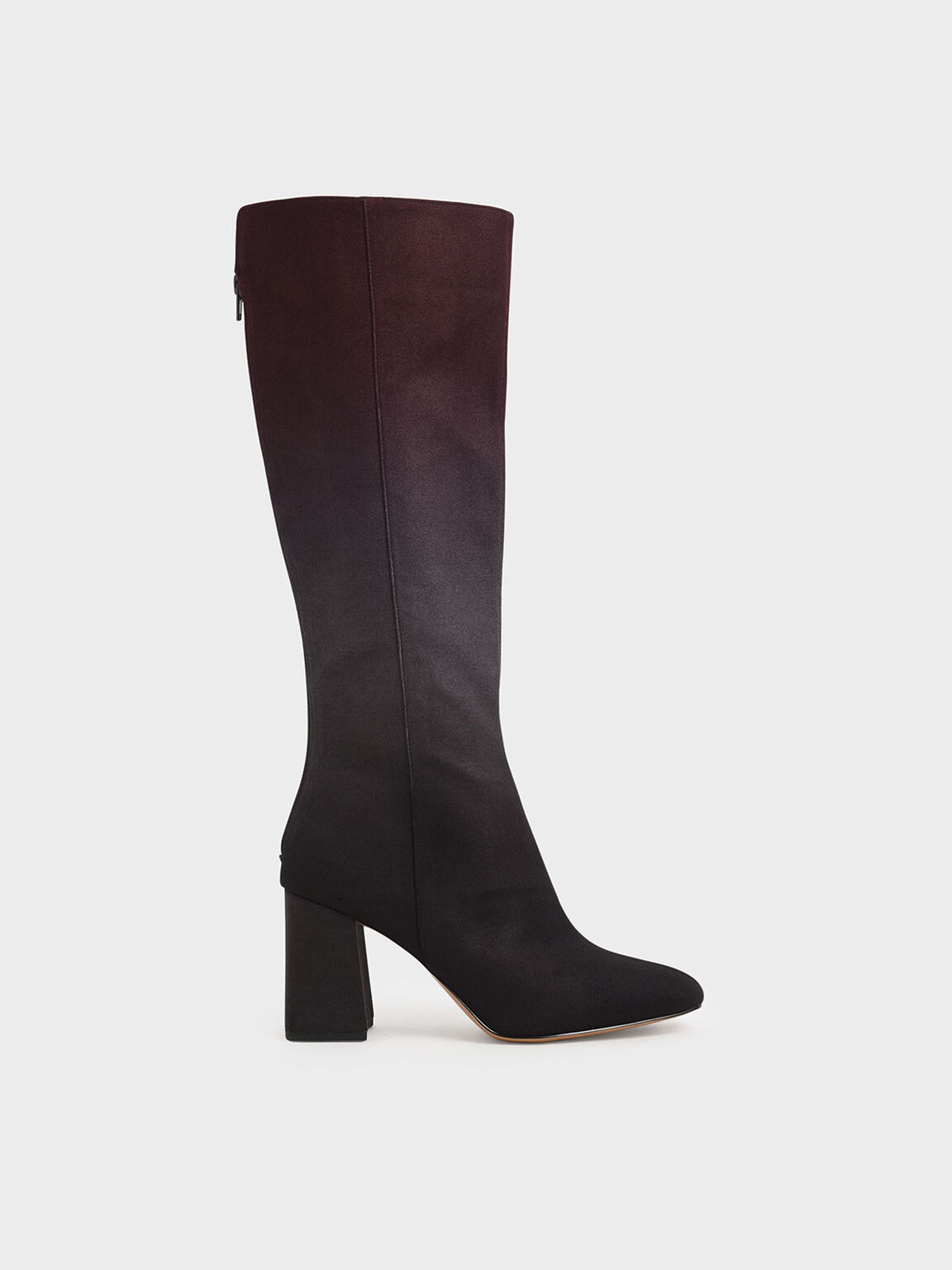 Multicoloured Felt Knee High Boots, Burgundy, hi-res