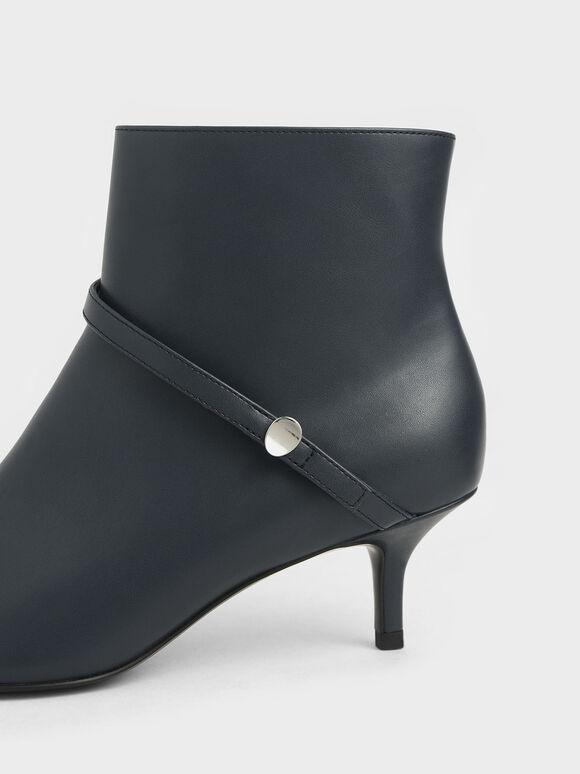 Pointed Toe Ankle Boots, Dark Blue, hi-res