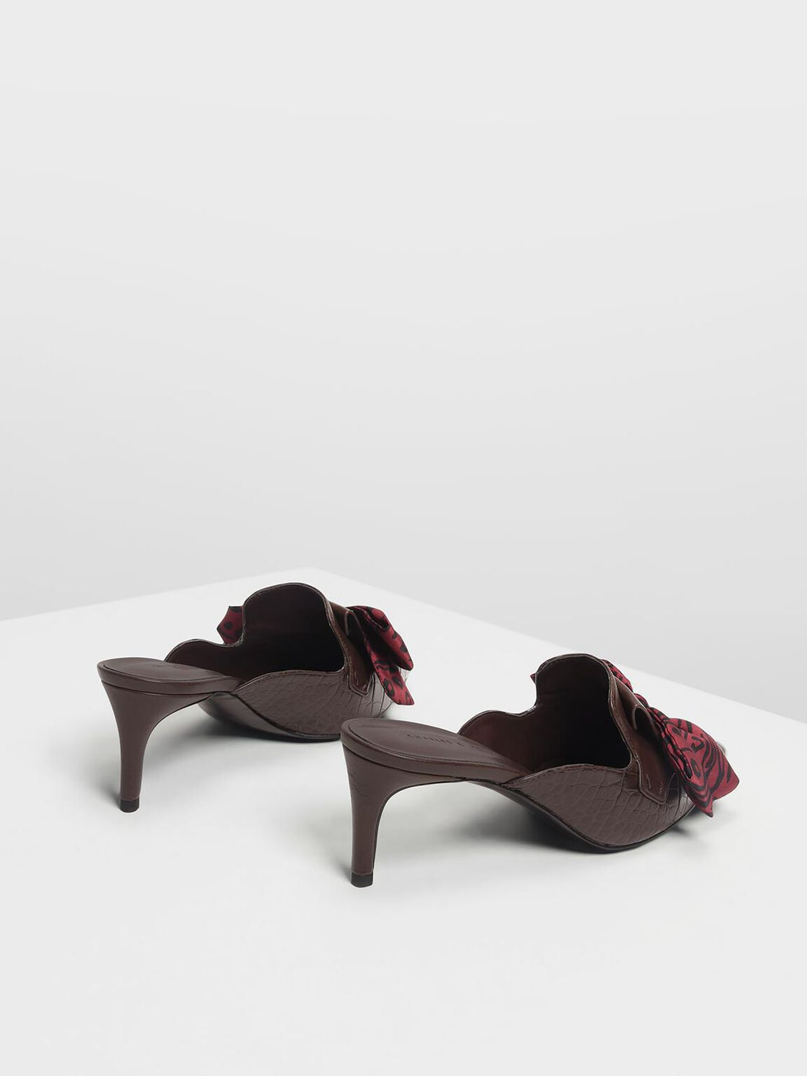 Knotted Bow Mules, Dark Brown, hi-res