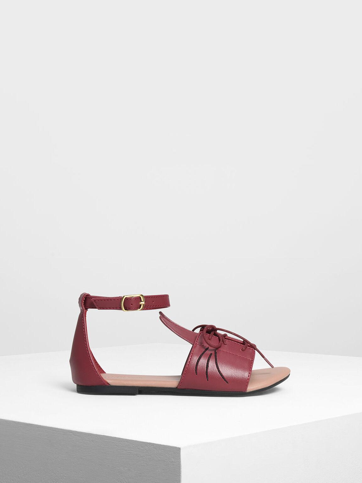 Kids Bunny Sandals, Red, hi-res