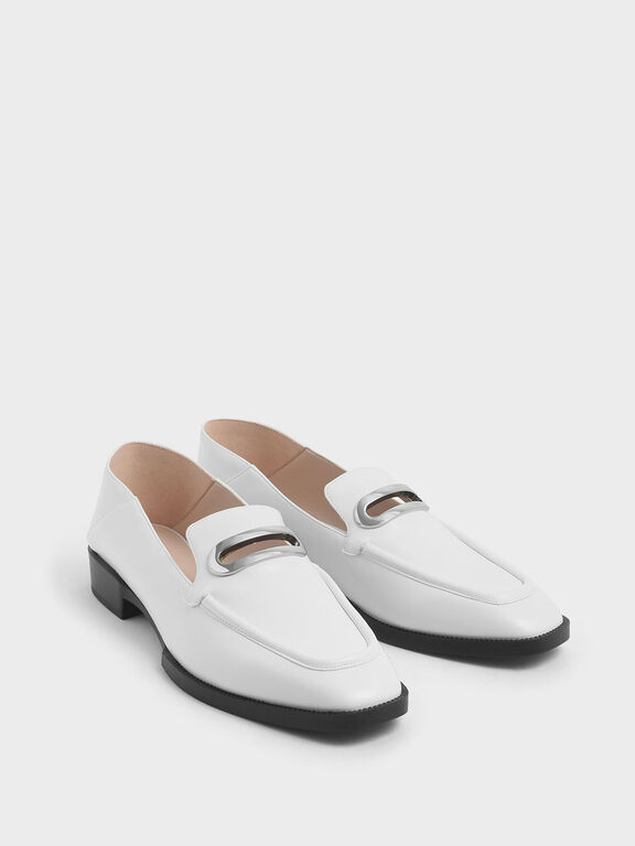 Metal Accent Step Back Penny Loafers, White, hi-res