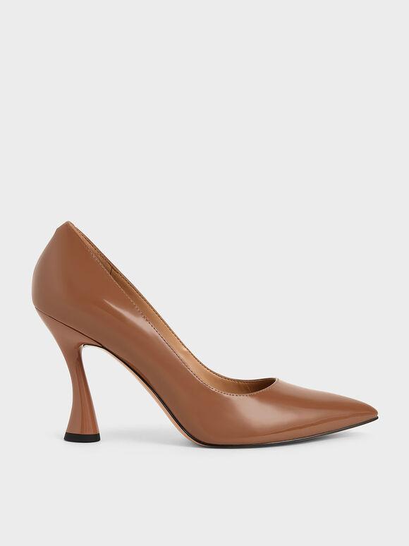 Patent Spool Heel Pointed Toe Pumps, Cognac, hi-res