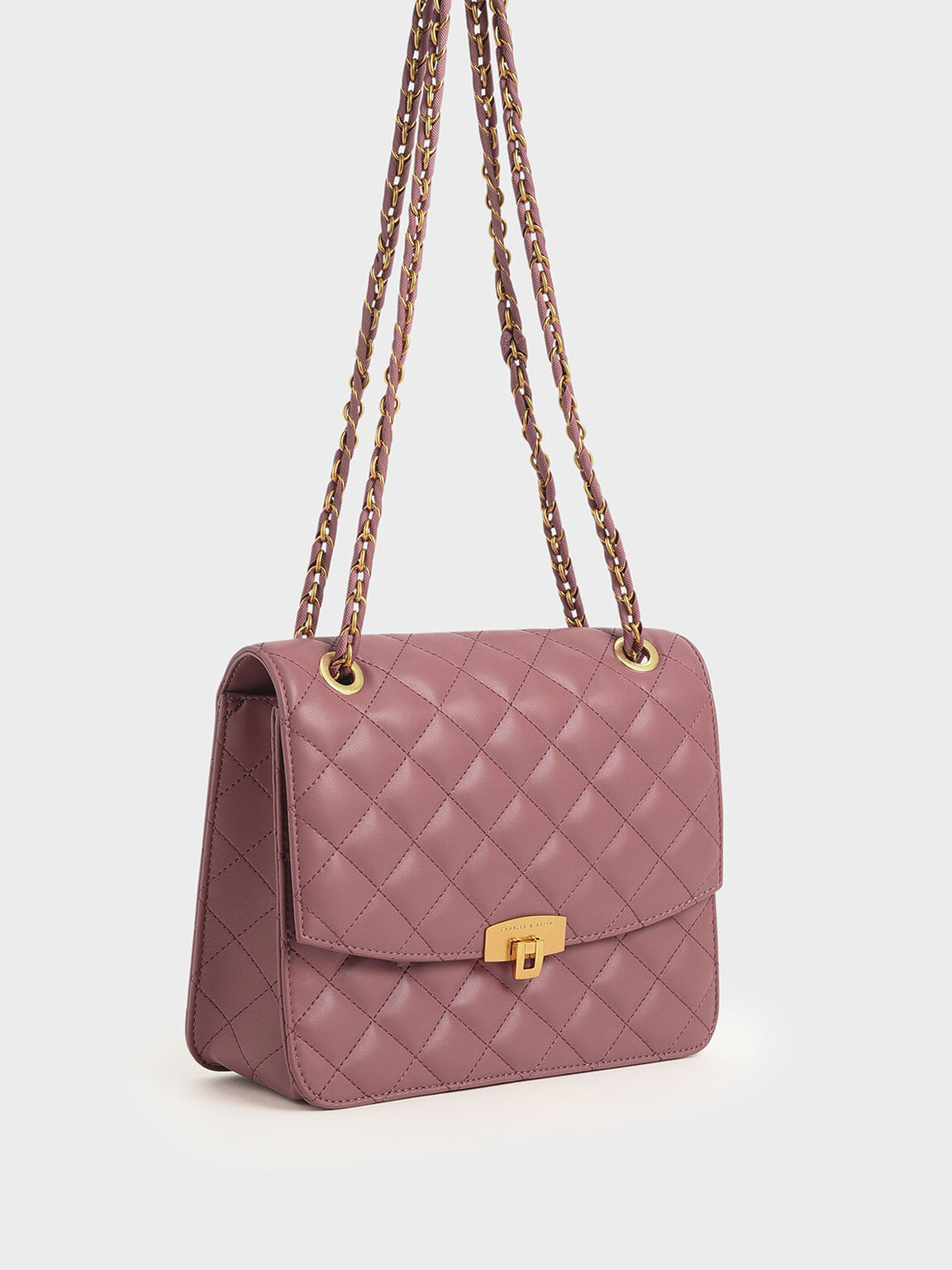 Quilted Shoulder Bag, Rose, hi-res
