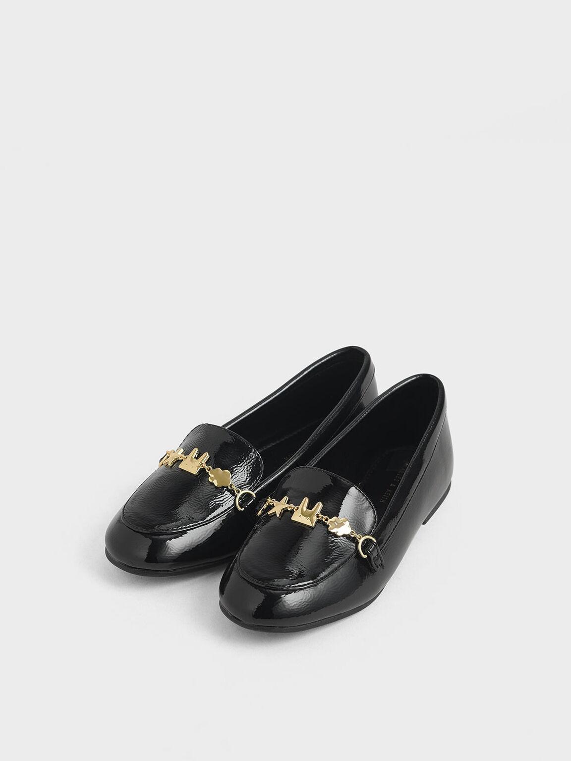 Girls' Wrinkled Patent Charm Loafers, Black, hi-res