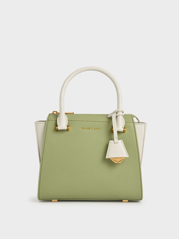 Molly Chiang Collection: Two-Tone Trapeze Tote, Sage Green, hi-res