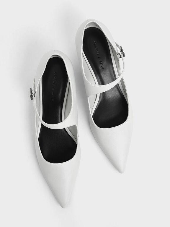 Asymmetric Mary Jane Kitten Heels, White, hi-res
