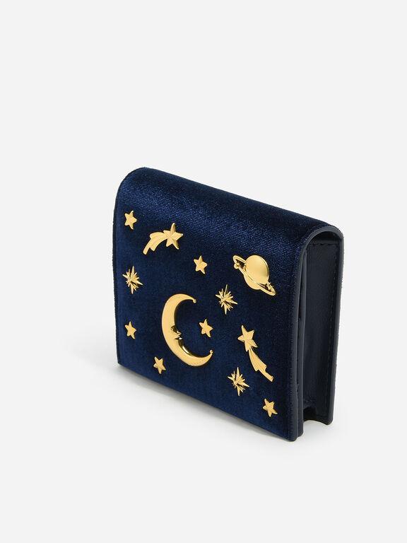 Snap Button Galaxy Embellished Velvet Card Holder, Navy