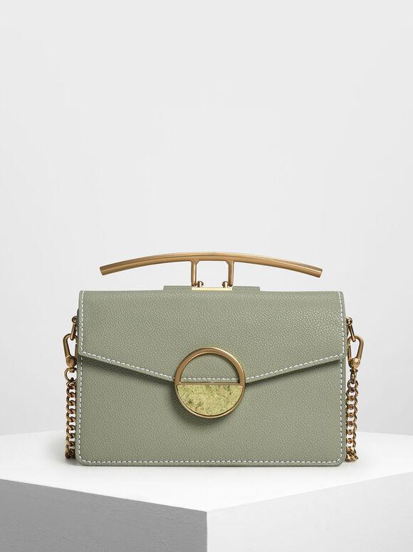 Stone Embellished Shoulder Bag, Sage Green, hi-res