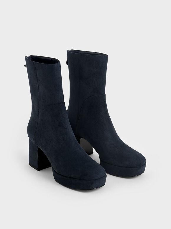 方頭厚底短靴, 深藍色, hi-res