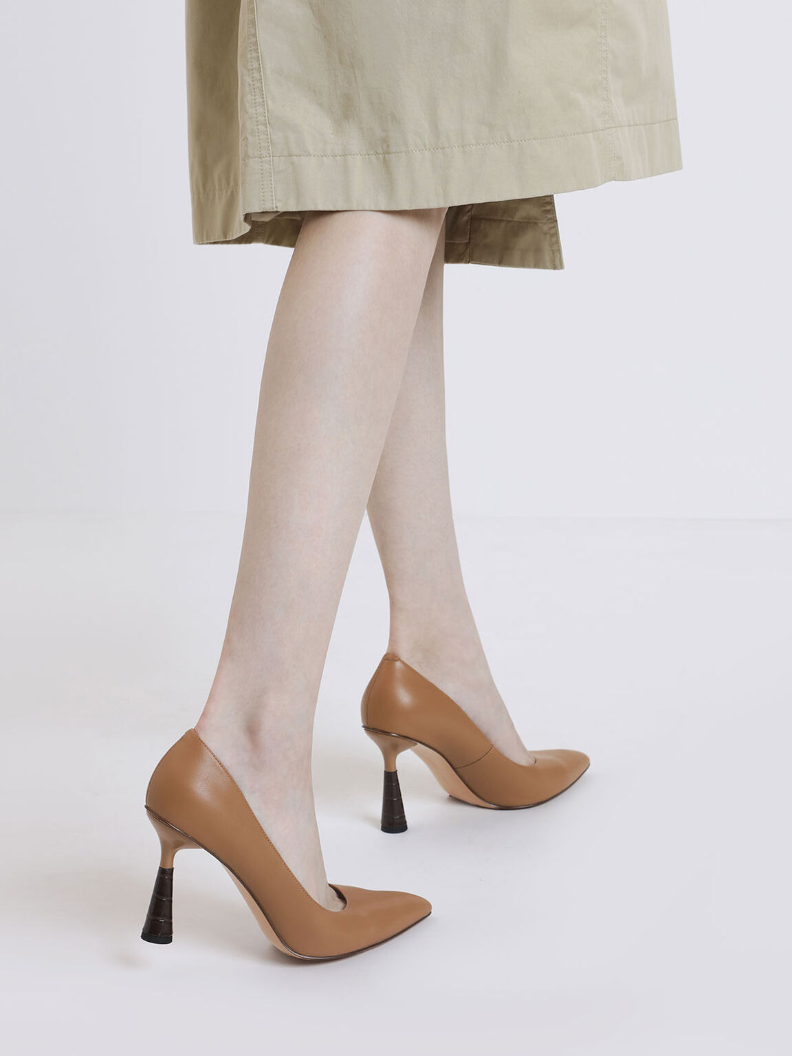 Sculptural Heel Pointed Toe Pumps, Beige, hi-res