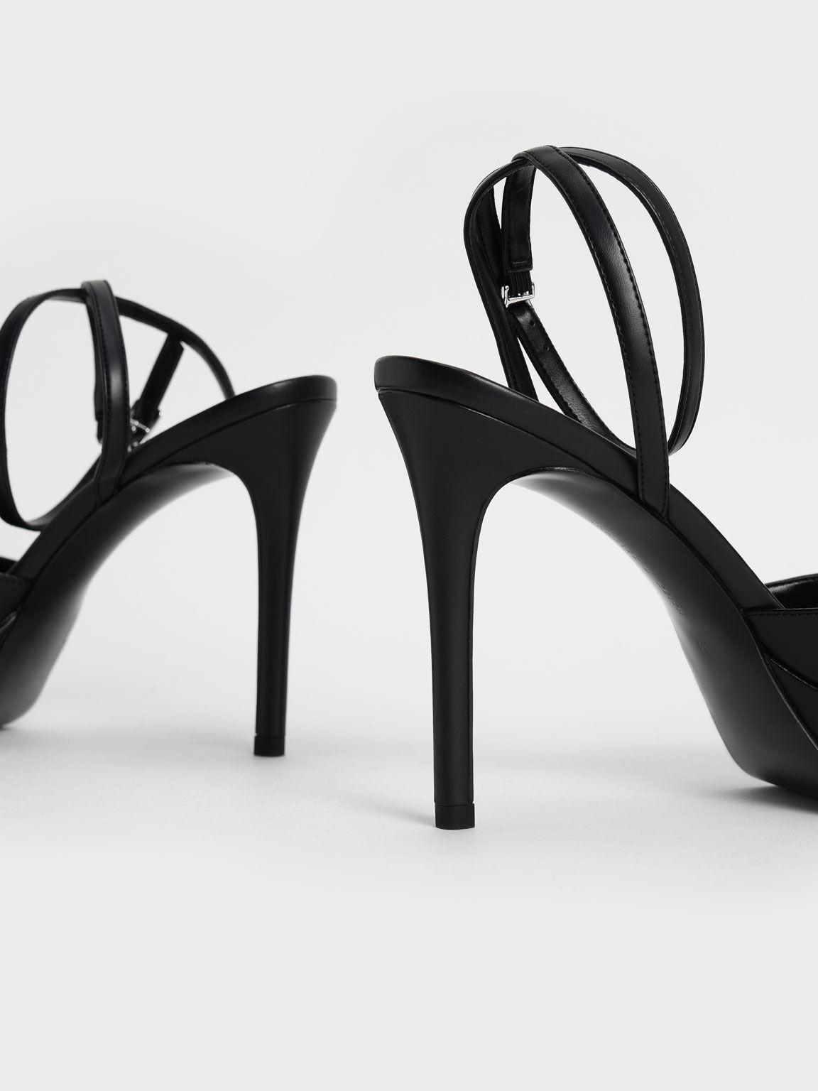 Gem-Embellished Platform Sandals, Black, hi-res