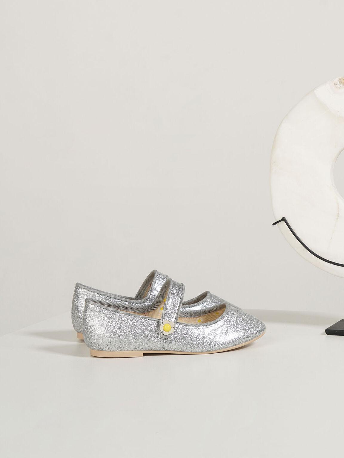 兒童瑪莉珍芭蕾鞋, 銀色, hi-res
