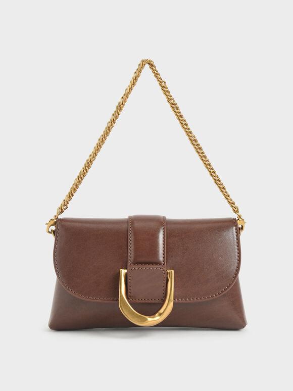 Metallic Buckle Crossbody Bag, Dark Brown, hi-res