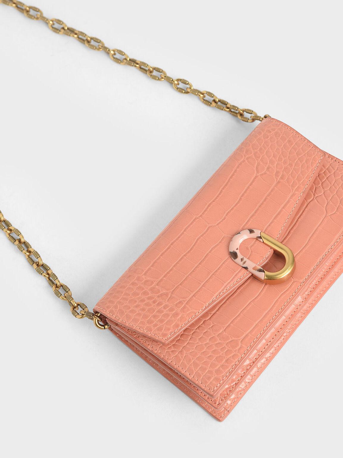 Croc-Effect Stone-Embellished Envelope Wallet, Peach, hi-res