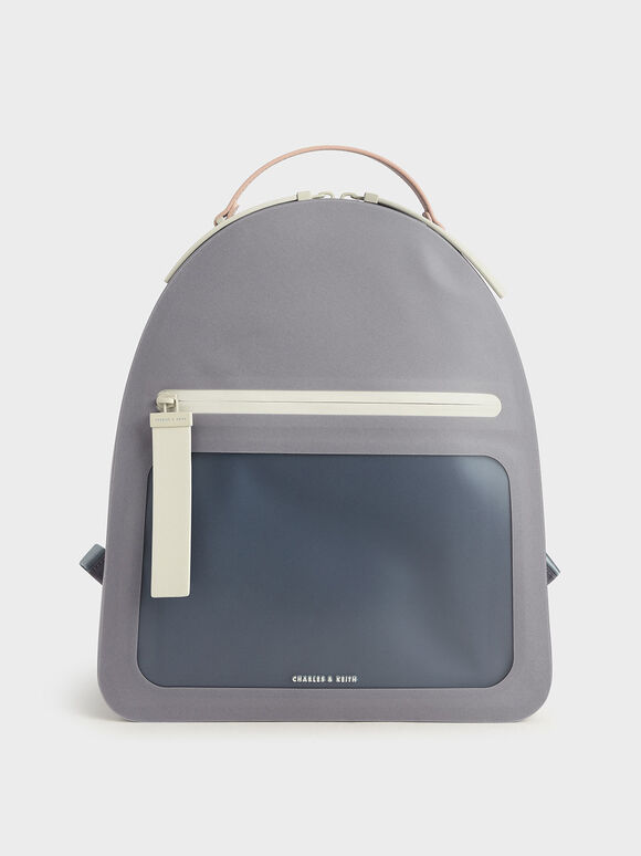 Front Zip Backpack, Grey, hi-res