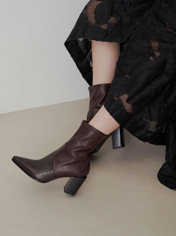 方形跟中筒靴, 棗紅色, hi-res