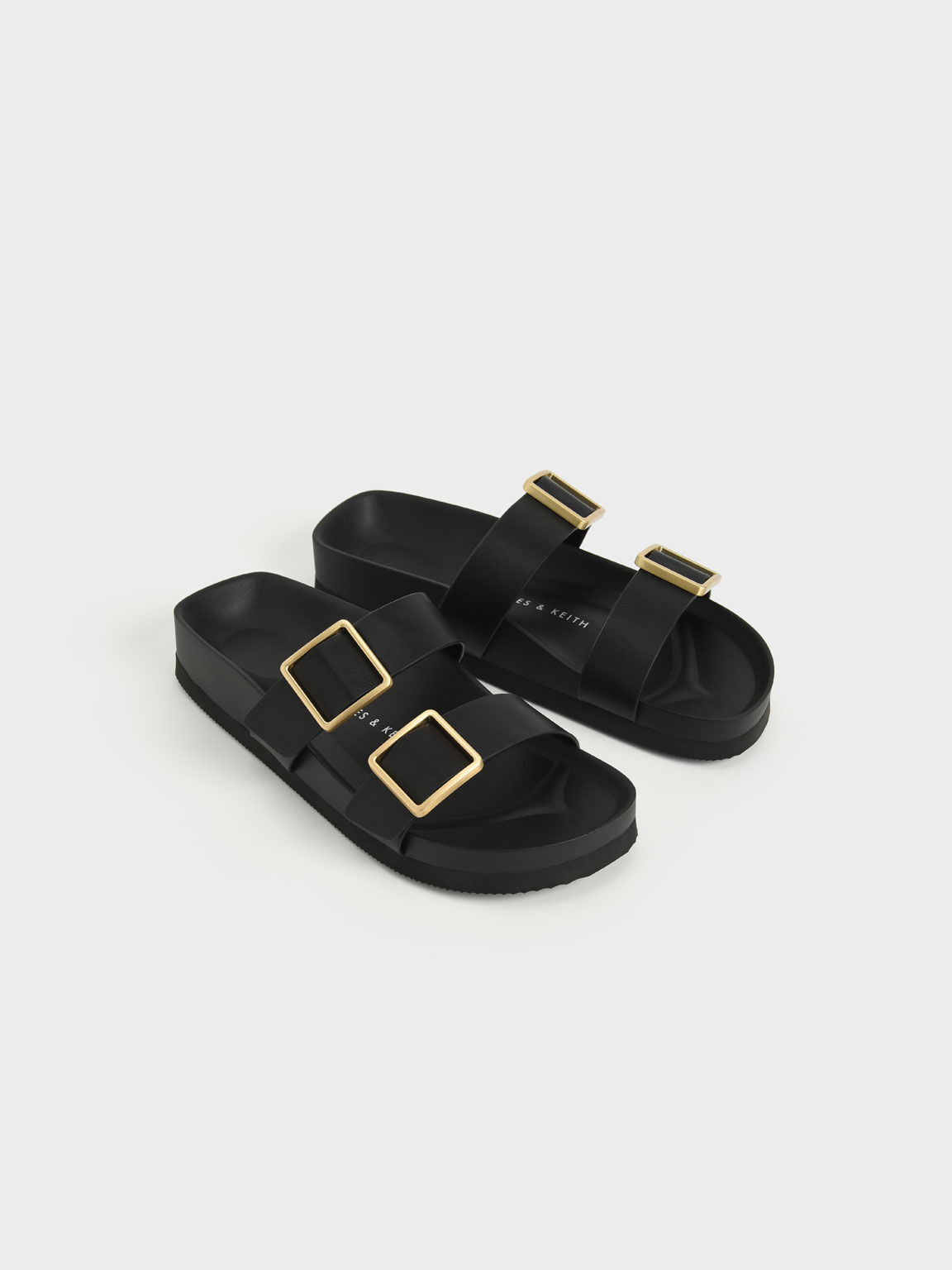 Buckle Strap Slide Sandals, Black, hi-res
