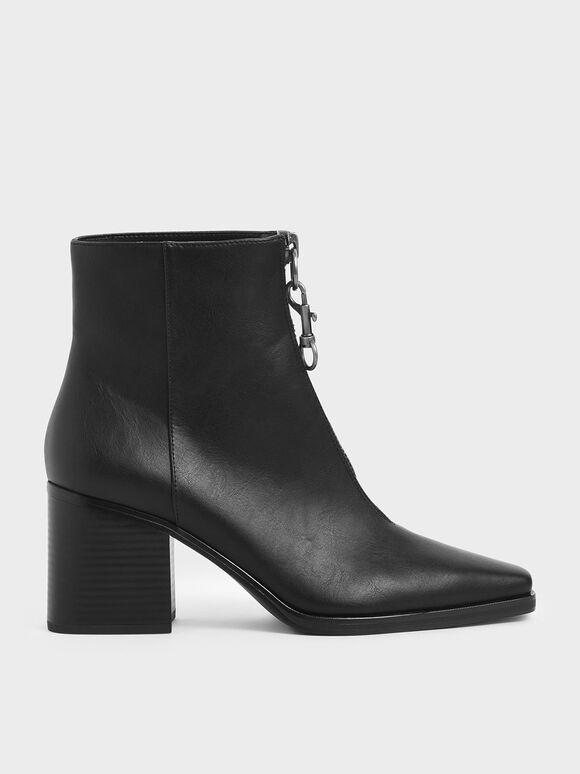 Front Zip Ankle Boots, Black, hi-res