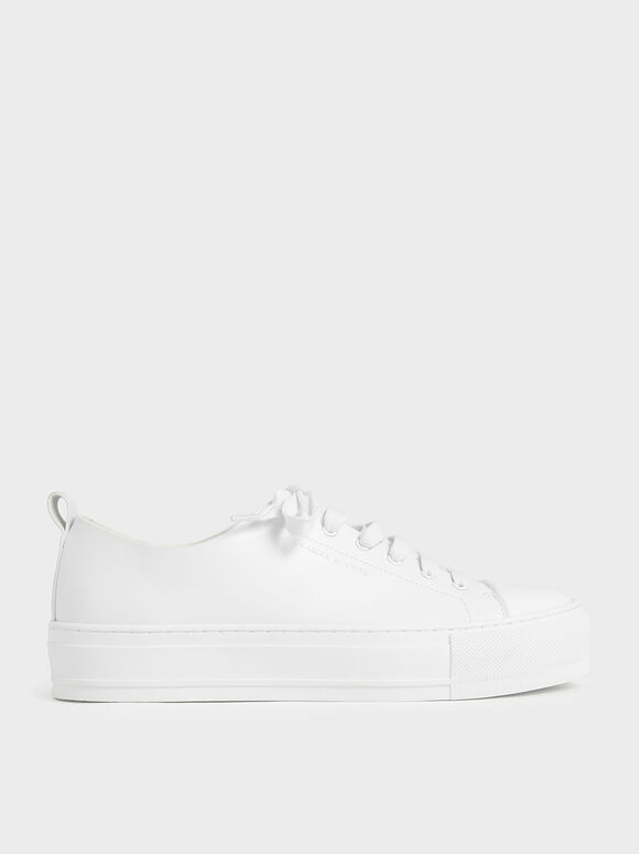 Platform Sneakers, White, hi-res