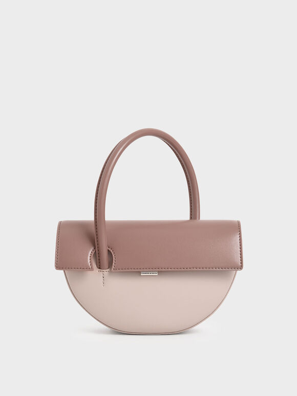 Top Handle Semi-Circle Bag, Nude, hi-res