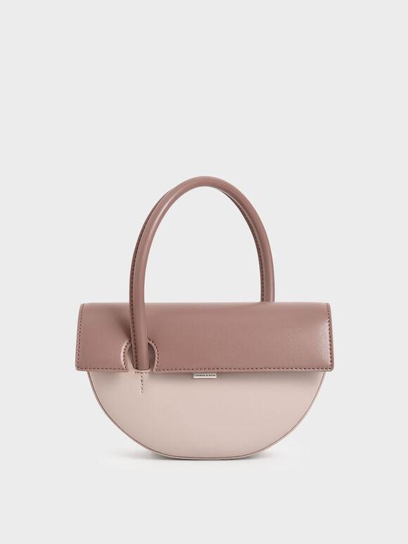 Top Handle Semi-Circle Bag, Nude, hi-res
