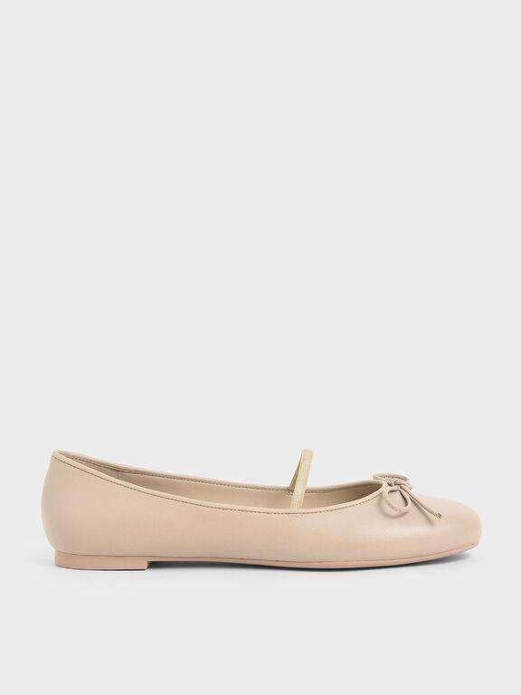 Ribbon Tie Mary Jane Ballerina Flats, Beige