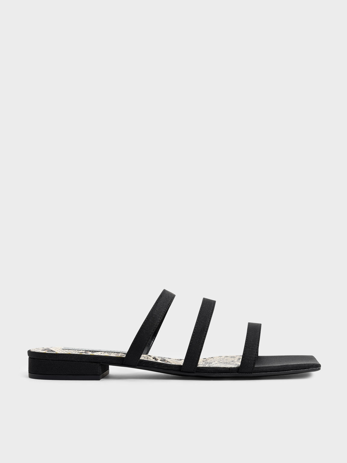 Grosgrain Snake Print Slide Sandals, Black, hi-res