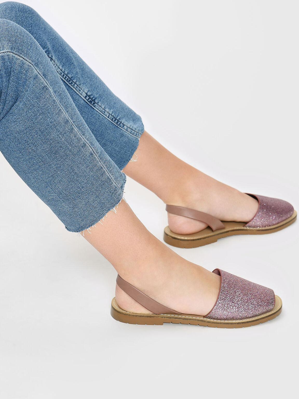 Glittery Slingback Sandals, Nude, hi-res