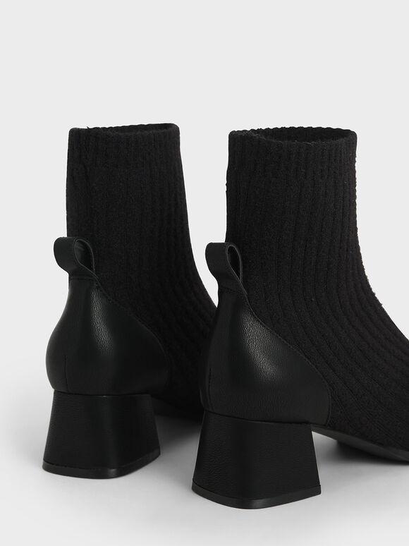 Knit Ankle Sock Boots, Black, hi-res