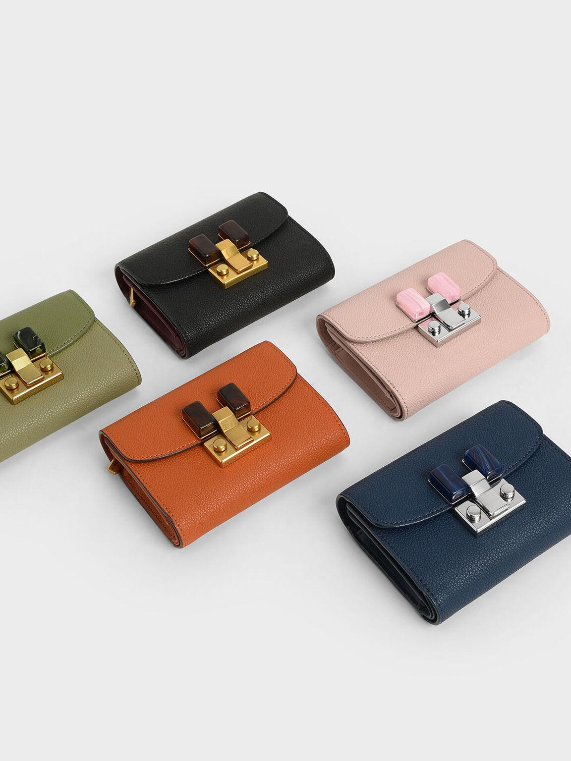 Stone-Embellished Mini Wallet, Black, hi-res