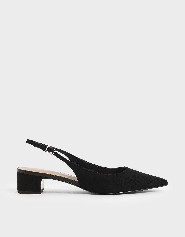Black Textured Pointed Toe Slingback