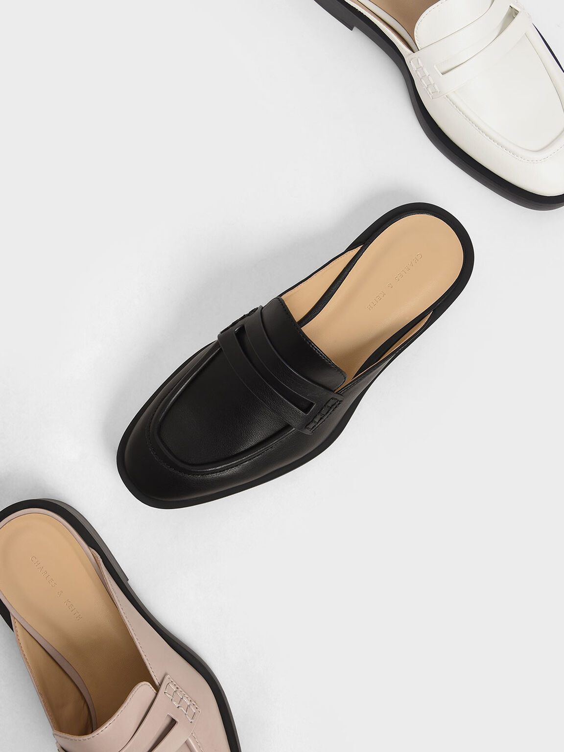Penny Loafer Mules, Black, hi-res