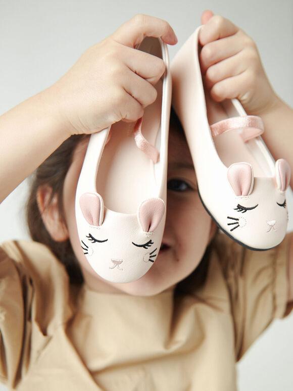 Girls' 'Rat Zodiac' Mary Jane Flats, Cream, hi-res